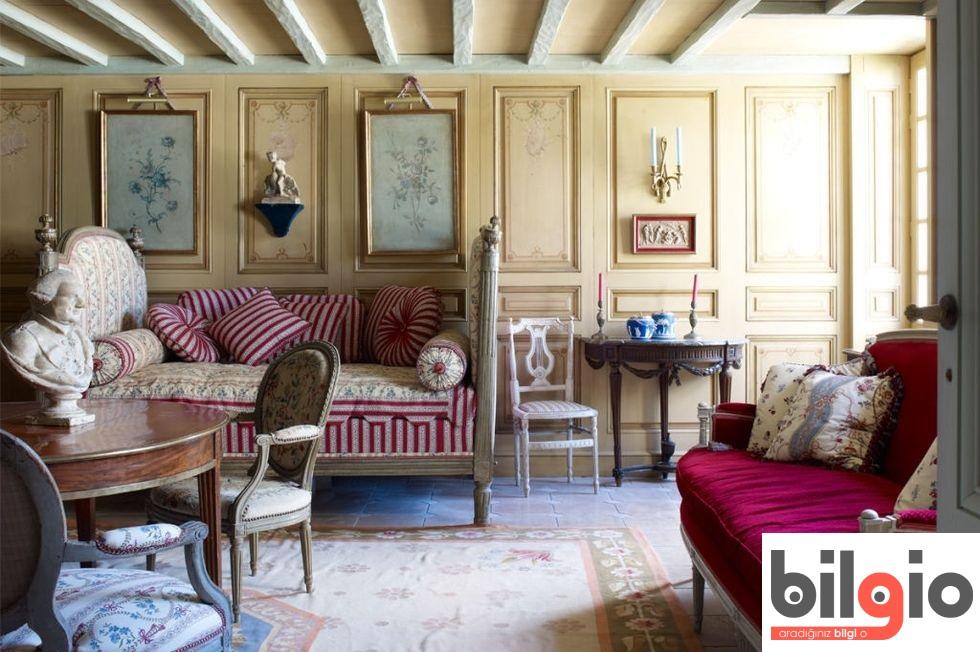 Fransız country tarzı salon dekorasyonu örnekleri