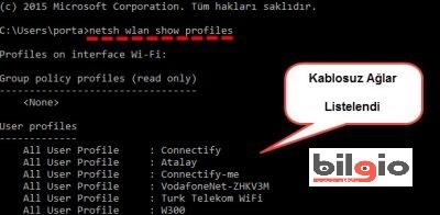 Bilgisayardan wifi şifresi öğrenme