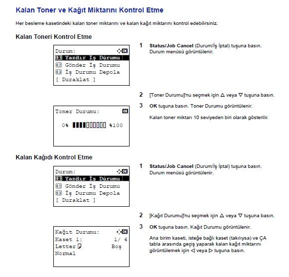 Kyocera 3040 toner ekleyin hatası