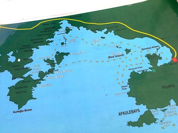 Fethiye Tekne turu güzergahları